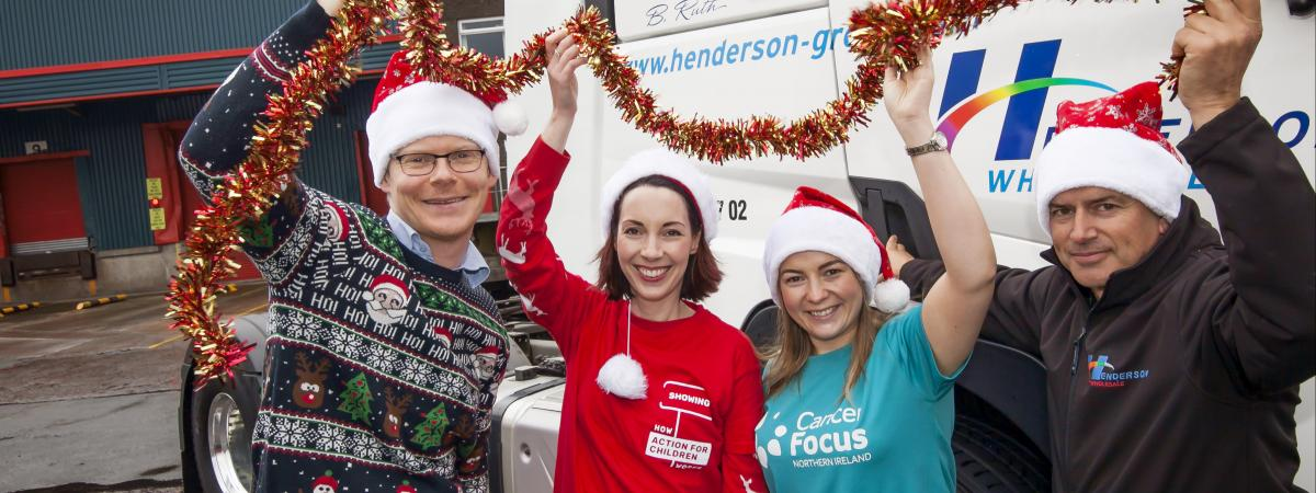Andy Nisbet, Business in the Community; Julie Harvey, Action for Children; Rosie Forsythe, Cancer Focus and Paul Yathindran, Henderson Group call for businesses to support the Cares @ Christmas 2017 campaign – donating toys and gifts for children, or helping to wrap and sort gifts.