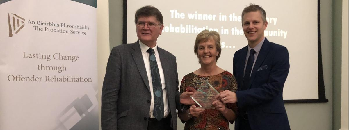 Cheryl Lamont, Probation CEO, and Stephen Hamilton, Assistant Director, were absolutely delighted to be presented the top accolade at the CEP Awards from CEP President, Gerry McNally, in Dublin for its work in developing the Enhanced Combination Order.