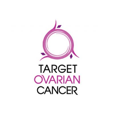 A logo with pink circle and the words Target Ovarian Cancer