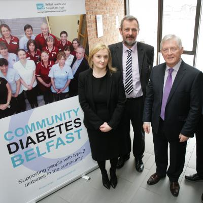 Launching the new Belfast community diabetes service for people with type 2 diabetes are (second left) Richard Pengelly, Permanent Secretary of the Department of Health, with Dr Ian Clements, chair of the Health and Social Care Board, Dr Glynis Magee, community consultant diabetologist, Belfast Trust, and GP and chair of the South Belfast Integrated Care Partnership, Dr Martin Cunningham (right).