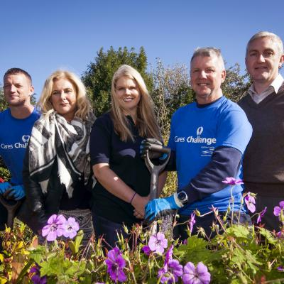 Making the most of the sunshine at Kilcreggan Urban Farm on Thursday 21 September are (L-R): Glenn Nixon from NI Water, Denise Cranston, Business in the Community; Sara Venning from NI Water; Sammy Hamilton, NI Water and Daman Cassidy, Kilcreggan Homes.