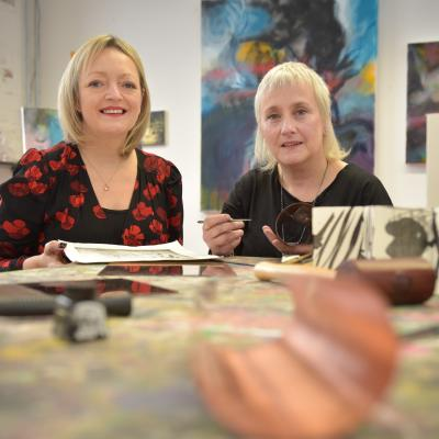 Mary Nagele, Chief Executive, Arts & Business NI and Karen Daye-Hutchinson, artist