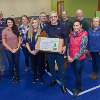 Simple Power Chief Executive Philip Rainey and Rural Support Cief Executive Jude McCann with producers and packers at the Hamper Scheme packing day 2017