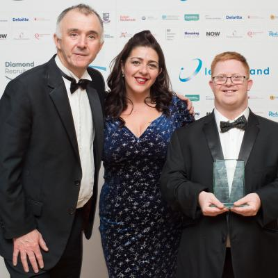 NOW Group participant Francis Fitzsimons and CEO Maeve Monaghan are pictured with Barry Phillips, Chairman, Legal-Island. NOW were awarded the Best Disability Initiative award for the JAM Card.