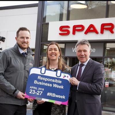 Business in the Community is encouraging businesses across Northern Ireland to share their 'good' business stories during Responsible Business Week (#RBweek) which will take place from 23-27 April 2018.  Pictured launching Responsible Business Week 2018 is Bronagh Luke, Henderson Group (centre) with Barry Cox, Manager of SPAR Madigans Court (left) and Kieran Harding, Business in the Community (right).