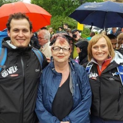 Northern Ireland walkers Olivia and Noel with Comedian and walker Jo Brand at the start of the Great Big Walk 2017 in  Batley, Yorkshire
