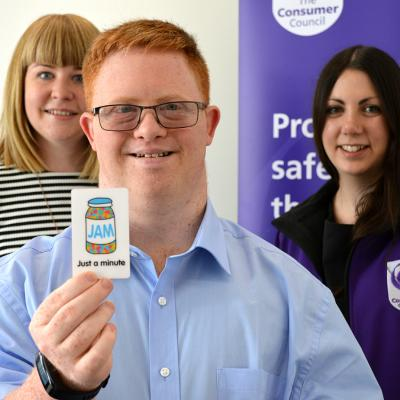 Francis Fitzsimons displays the JAM Card at The Consumer Council, who has become a JAM Card Friendly Organisation. Pictured with Christine McClune (Now Group) and Sarah Hunter (The Consumer Council).