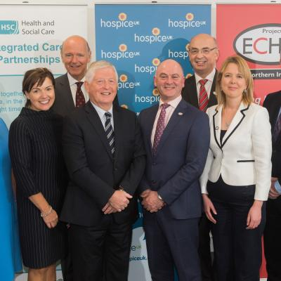 At the official launch of Project ECHO NI are (front row, from left): HSCB Chief Executive Valerie Watts, Department of Health's Director of Transformation Sharon Gallagher, HSCB Chair Dr Ian Clements, HSCB Director of ehealth Sean Donaghy, Chief Executive Hospice UK Tracey Bleakley, Project Director Martin Hayes. Back row: HSCB Director of Integrated Care Dr Sloan Harper and Project ECHO NI Clinical Lead Professor Max Watson.