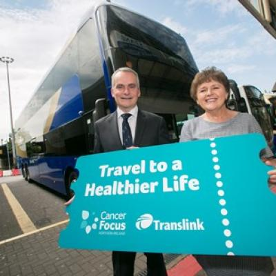 Translink Group Chief Executive Chris Conway and Cancer Focus NI Chief Executive Roisin Foster launch a three year partnership with a new 'Travel to a Healthier Life' campaign, ahead of Bus + Train Week (June 4 – 10), to raise awareness about the steps people can take to lower cancer risks.