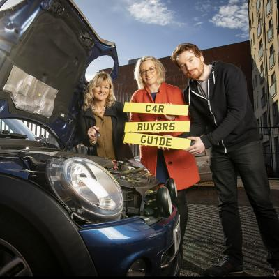 Consumer Zach Robinson is given advice on what to look out for when buying a car by Angela Gilliland (Trading Standards Service) and Philippa McKeown-Brown (The Consumer Council).