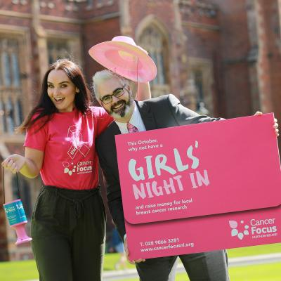 Diona Doherty, of Derry Girls fame, and researcher Dr Kienan Savage get 'In Pink' for Cancer Focus NI's Girls' Night In campaign to support pioneering breast cancer research at Queen's University Belfast. To sign up for your Girls' Night In pack visit www.cancerfocusni.org or call 028 9066 3281.
