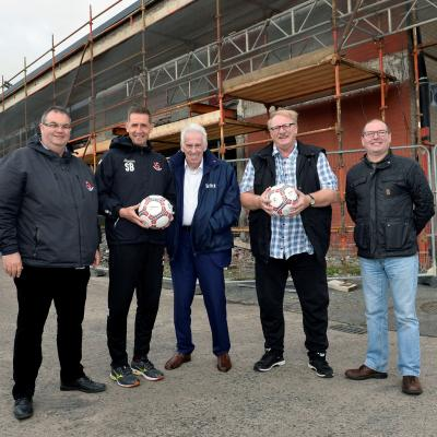 Pictured at the site of the new McDonald Centre are Tommy Whiteside, Treasurer of Crusaders FC; Stephen Baxter, Manager of Crusaders FC; Alan Moneypenny, Chairman of UCIT; Roy McDonald and Jim Crothers, Hubb Resource Centre