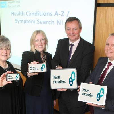 Department of Health Permanent Secretary Richard Pengelly  (second right) who launched the online A-Z symptom search on nidirect with Dr Edward O'Neill, consultant medical advisor with the Health and Social Care Board, Karen Mooney, patients group, Royal College of  General Practitioners Northern Ireland and Caron Alexander, Department of Finance.
