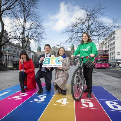 Launching the Active Travel Challenge 2019, L to R: Lynda Hurley, DfI, David Tumilty, PHA, Una Carson, Translink & Krysten Maier, Sustrans Active Travel Officer (L~Derry)