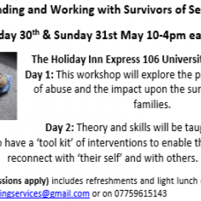 Understanding and Working with Survivors of Sexual Abuse Saturday 30th & Sunday 31st May 10-4pm each day The Holiday Inn Express 106 University Street Belfast Day 1: This workshop will explore the psychological cycle of abuse and the impact upon the survivors and their families.  Day 2: Theory and skills will be taught to enable therapists to have a 'tool kit' of interventions to enable the survivor to reconnect with 'their self' and with others.   Cost: £110  (concessions apply) includes refreshments and l