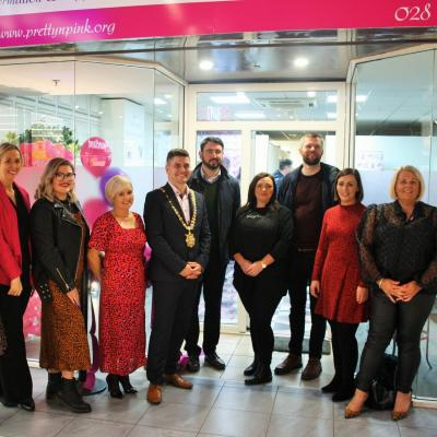 Belfast Lord Mayor, local politicians, and Pretty 'n' Pink Breast Cancer Charity staff and volunteers at the launch of the new Breast Cancer Information & Support Hub at The Park Centre in Belfast