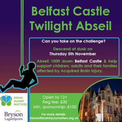 Abseil 100ft down Belfast Castle at twilight and help support children, adults and their families affected by Acquired Brain Injury