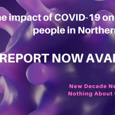 Purple covid graphic - The impact of COVID-19 on disabled people in NI. Report now available