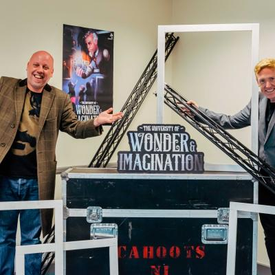 Cahoots Artistic Director Paul McEneaney with actor Hugh W Brown launching the new Cahoots show University of Wonder & Imagination. Photo by Francine Montgomery / Excalibur Press For more information contact Tina Calder, Excalibur Press, 07305354209, tina@excaliburpress.co.uk