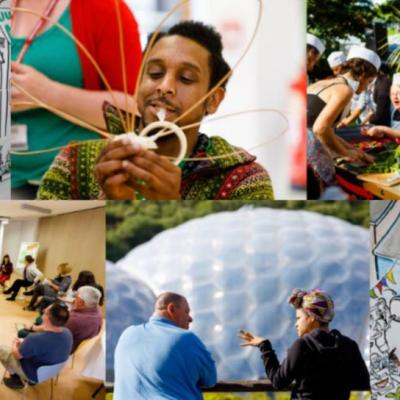 photos of people interacting at eden project cornwall