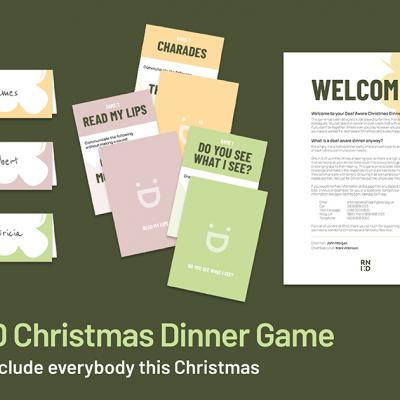 Image shows name tags, a welcome page and cards to explain each game
