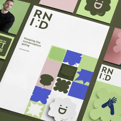 a collection of images showing RNID's new branding in green and pink