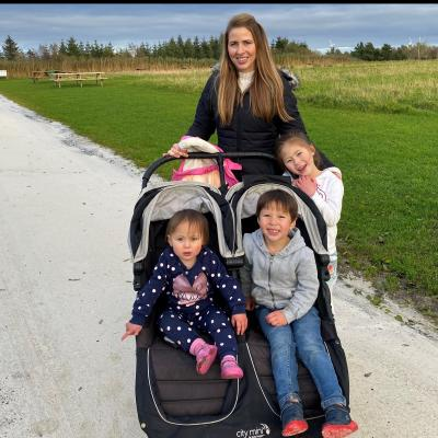 Emma Dowds Tsang and her children support Cancer Focus NI's March a Million challenge